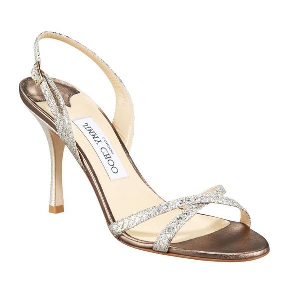 02a5e11fcbb Jimmy Choo Shoes - Jimmy Choo India Sandal Silver Glitter Leather 6.5
